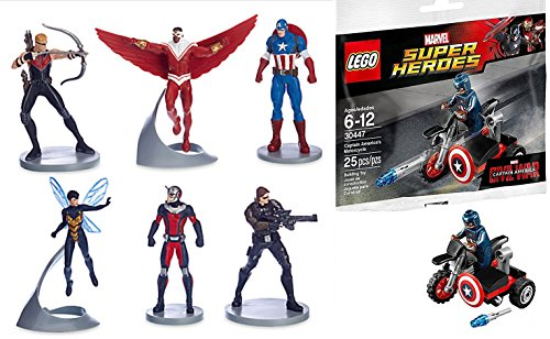 Marvel Hero Battle Brigade Avengers Captain America Figurine Set Action Figures + Lego Super Heroes Captain America Motorcycle & Mini Figure (30447)
