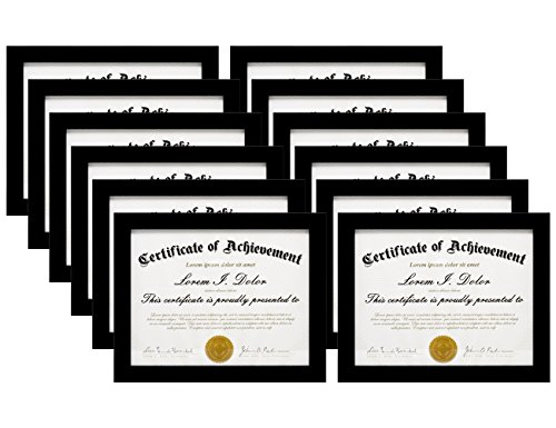 MeiC 12 Pack 8.5x11'' Certificate Document Photo Frames for Desktop Standing Wall Hanging Black by MeiC