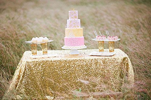 LQIAO 10PCS 90x132-Inch Rectangle Sequin Tablecloth-Gold for Lavender Wedding Party Decoration by LQIAO