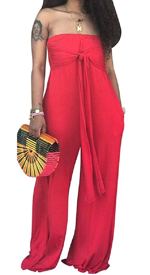 WAWAYA Women Casual Wide Leg Off Shoulder Solid Color Loose Jumpsuit Romper