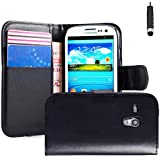 32nd Book wallet PU leather case cover for Samsung Galaxy S3 Mini (S iii Mini) i8190 + screen protector, cleaning cloth and touch stylus - Black
