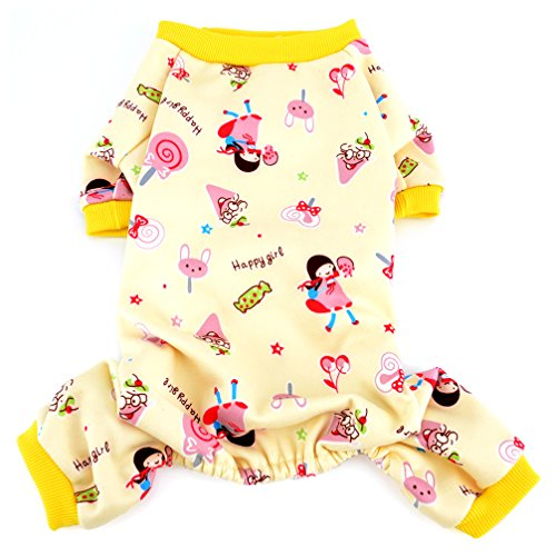 Ranphy Lollipop Print Small Dog Cat Fleece Pajamas Soft Cozy Puppy Pjs Outfits Shih Tzu Clothes Boy Girl Warm Coat Winter Autumn Shirt Yellow (Shih Tzu Fleece)