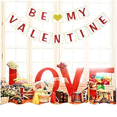 Be My Valentine Banner | Valentines Day Decorations | Valentines Party Decor | Valentines Party Favors | Valentine Photo Prop | Valentines Garland | Gold Glitter - Try My Photo