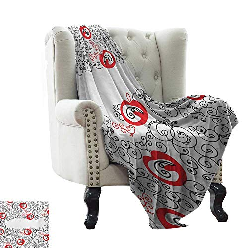 Anyangeight Red and Black,Warm Microfiber All Season Blanket,Minimalist Home Design Themed Sketchy Birds Swirls and Apple Shapes 60