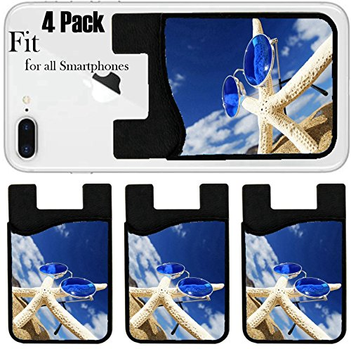 Liili Phone Card holder sleeve/wallet for iPhone Samsung Android and all smartphones with removable microfiber screen cleaner Silicone card Caddy(4 Pack) IMAGE ID: 404771 Starfish with sunglasses - Sunglasses Firefly