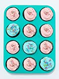 Delightful Mom Food Premium Muffin Pan - 12 Cup Non-Stick Silicone Baking Pan - No More Sticking or Scrubbing, BPA Free & Dishwasher Safe - Plus E-Book with Easy & Healthy Muffin Tin Recipes