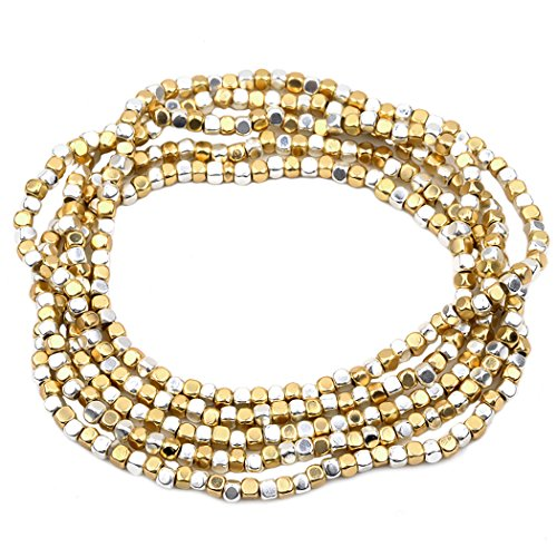 Gold Bead Stretch Bracelet - Rosemarie Collections Women's Two Tone Beaded Stretch Bracelet Set Gold and Silver Tone