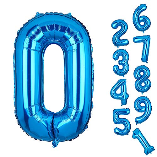 Big 0 Number Balloons Blue Mylar Foil Helium Balloons Birthday Party Decorations for Anniversary -