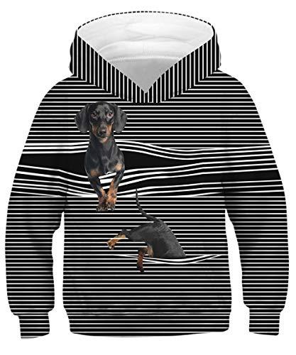 - GLUDEAR Kids Printed Animal Galaxy Hooded Pullover Sweatshirt Hoodie Pocket,Black Dog,11-13 Years