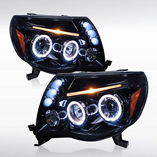 Autozensation For Toyota Tacoma Light Smoke LED Halo Projector Headlights Pair
