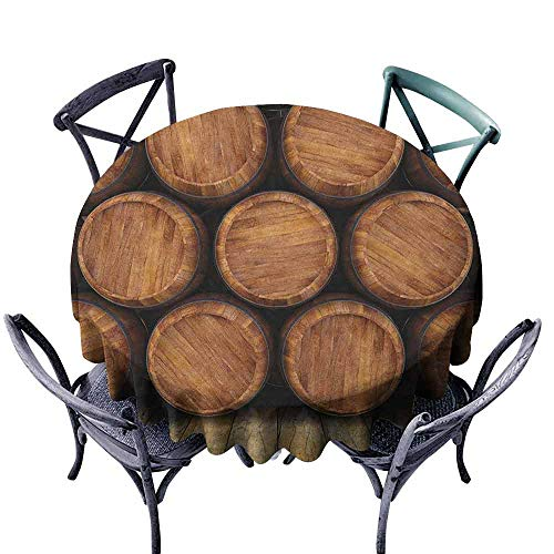 Modern Round Tablecloth Picnic Cloth Wine,Wall of Wooden Barrels Wine Stack Storage Gallon Antique Vintage Container Rustic Design, Brown Diameter 60