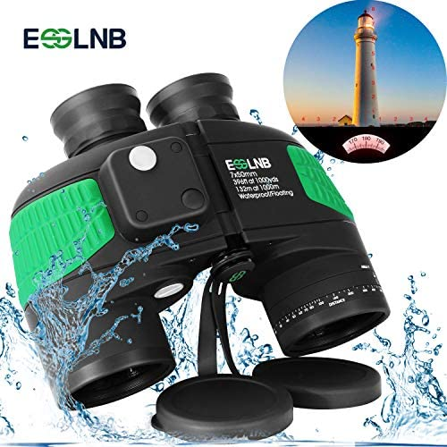 ESSLNB Marine Binoculars with Illuminated Compass Rangefinder 7X50 IPX7 100 Waterproof Military Binoculars for Adults Kids BAK4 FMC Floating Binoculars for Boating Hunting w Bag and Floating Strap