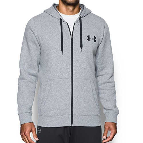 Under Armour Men's Rival Fleece Fitted Full Zip Hoodie, Carbon Heather /Black, XX-Large