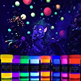 2-IN-1 Glow-in-the-Dark Paint - Neon Glow Paint Set with UV Black Light Reflective Wall Paint - 8 Color Kit - High Pigmentation - German Quality - Perfect for Arts & Crafts, DIY, Kids Party Decoration