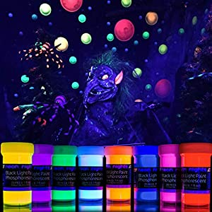 2-in-1 Glow in The Dark Acrylic Paint Set by neon nights – Glows in The Dark & Under UV Blacklight – Set of 8 Self-Luminous Neon Paints – German Premium Quality – Phosphorescent