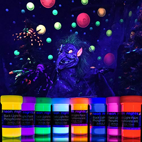 2-IN-1 Glow-in-the-Dark Paint – Neon Glow Paint Set with UV Black Light Reflective Wall Paint – 8 Color Kit – High Pigmentation – German Quality – Perfect for Arts & -
