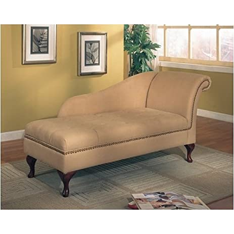 Coaster Tan Microfiber Chaise Lounger with Storage Space  sc 1 st  Amazon.com : chaise amazon - Sectionals, Sofas & Couches