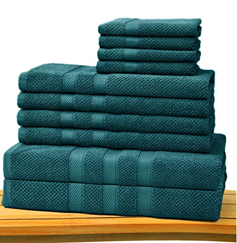 Cotton Craft - Rice Weave 10-Piece Towel Set Teal, Luxurious 100% Cotton, Heavy Weight & Absorbent, Set with 2 Oversized Large Bath Towels, 4 Hand Towels & 4 Wash Cloths (Bathroom Towels Teal)