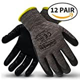 CustomGrips Cut Resistant Work Gloves. Span-Nylon Polyester Liner, Level 4 Abrasion Resistance, Nitrile Foam Palm Coated. Superior Breathability & Grip for All Day Comfort. [X-Large, 12 Pairs]