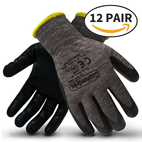 CustomGrips Cut Resistant Work Gloves. Span-Nylon Polyester Liner, Level 4 Abrasion Resistance, Nitrile Foam Palm Coated. Superior Breathability & Grip for All Day Comfort. [X-Large, 12 Pairs] by CustomGrips