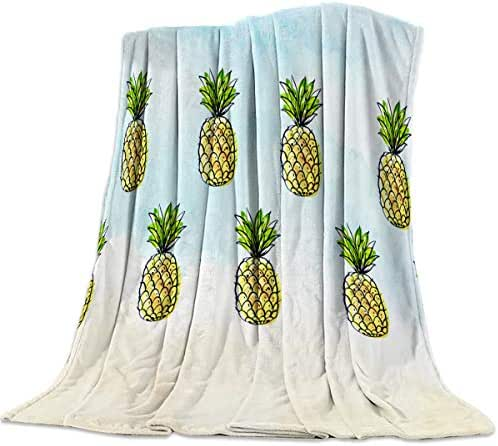 Queen Area Soft Coach Blanket Cartoon Watercolor Pineapple Fruit Pattern Lightweight Cozy Fuzzy Bed Super Soft Plush Throw Blanket 49