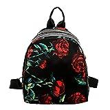 Canvas School Backpack Simple Flowers Printing School Bag Unisex Casual Rucksack Satchel Bookbag for Student/Travel/School/Sport (A)