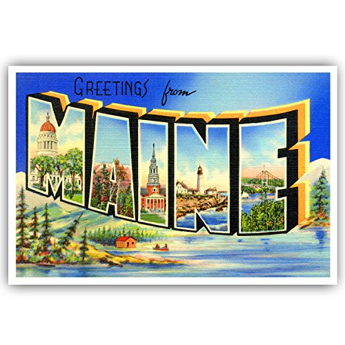 GREETINGS FROM MAINE vintage reprint postcard set of 20 identical postcards. Large letter US state name post card pack (ca. 1930's-1940's). Made in USA.