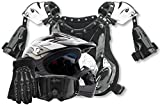 Kids Youth Offroad Helmet Gloves Goggles Chest Protector GEAR COMBO Motocross ATV Dirt Bike MX Silver Black ( Medium )