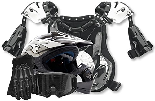 Youth Offroad Helmet Gloves Goggles Chest Protector GEAR COMBO Motocross ATV Dirt Bike MX Silver Black ( Large )