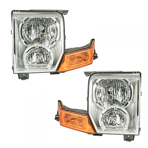 Headlights Headlamps Left & Right Pair Set for 06-10 Jeep Commander