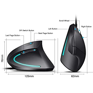 Ergonomic Vertical Optical Mouse USB High Precision Optical Wired Vertical Mouse, Palm Rest Thumb Adjustable 4DPI 5Buttons for PC/Laptop/Mac-Black (Color: black)