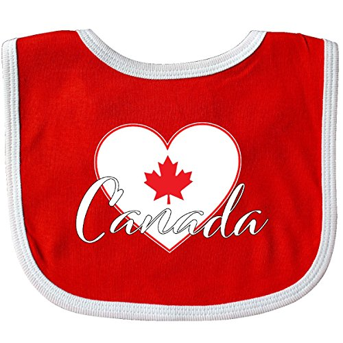 Inktastic Canada-Heart and Maple Leaf Baby Bib Red/White