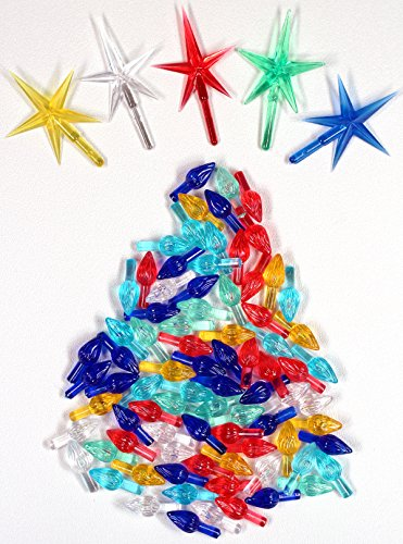 Ceramic Christmas Tree 100 Medium Twist Lights & 5 Stars (Part Tree Star Replacement Ceramic Christmas)