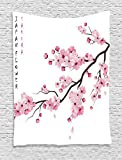 Ambesonne Asian Decor Tapestry By, Illustration Of Japanese Cherry Branches With Blooming Flowers Spring Decorative Boho Art, Bedroom Living Room Dorm Decor, 40 W x 60 L Inches, Pink White
