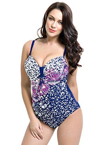 Hanna Nikole® Retro y Estampado Bañador Con Grande Talla De Mujeres 1#
