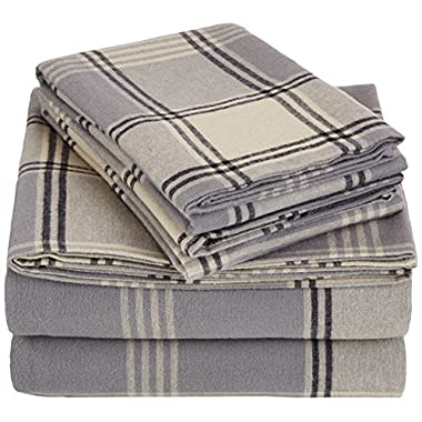 AmazonBasics Yarn-Dyed Lightweight Flannel Sheet Set - Queen, Grey Plaid