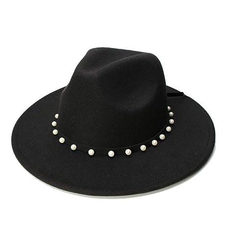 YAO Wool Fedora Hat with Leather Rivet Gentleman Elegant Winter Autumn Wide Brim Jazz Church Panama