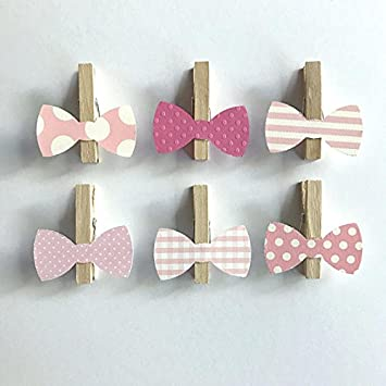 Pink Bows Clothespins Bow Tie Baby Shower Decoration Donu0027t Say Baby Game  Clips 12