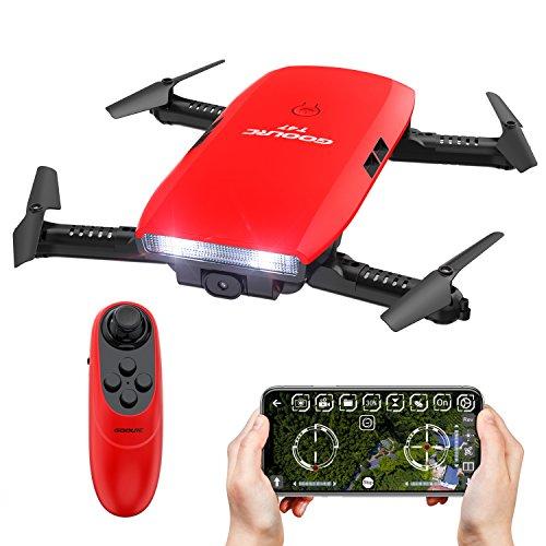 3d Rtf Electric Mini Helicopter (GoolRC T47 FPV Drone Foldable with Wifi Camera Live Video 2.4G 4 Channel 6 Axis Gravity Sensor Mode Altitude Hold RC Foldable Selfie Pocket Drone APP Control RTF)