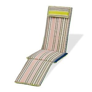 Gardenista® Gold Collection Multi Stripe Green Piped Edge Garden Steamer  Chair Cushion Pad