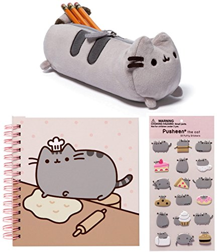 Pusheen 3 Pc Bundle - Notebook, Accessory Case & Puffy Stickers