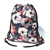 Original Floral Drawstring Bag String Backpack for Travel,Gym,School,Beach