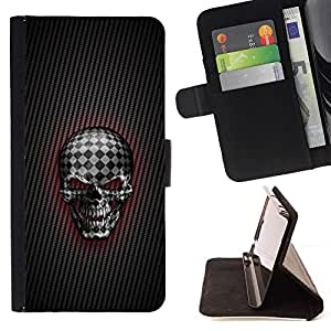 DEVIL CASE - FOR Samsung Galaxy Core Prime - Checkered Goth Skull - Style PU Leather Case Wallet Flip Stand Flap Closure Cover