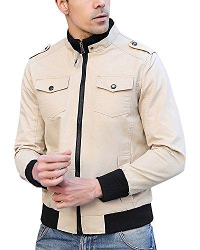Jacket Corta Lunga Giacche Cachi Slim Cappotti Uomo Outwear Manica Cappotto Casual Giacca q4EWv1w8