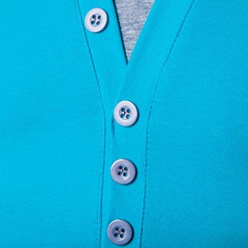 V manga corta cuello para Camiseta empalme moda camiseta Azul OverDose en hombres 78wqR6