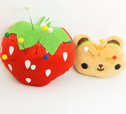 PeavyTailor Pincushion for Sewing Machine 2 pcs Needle Storage Organizer Red Strawberry
