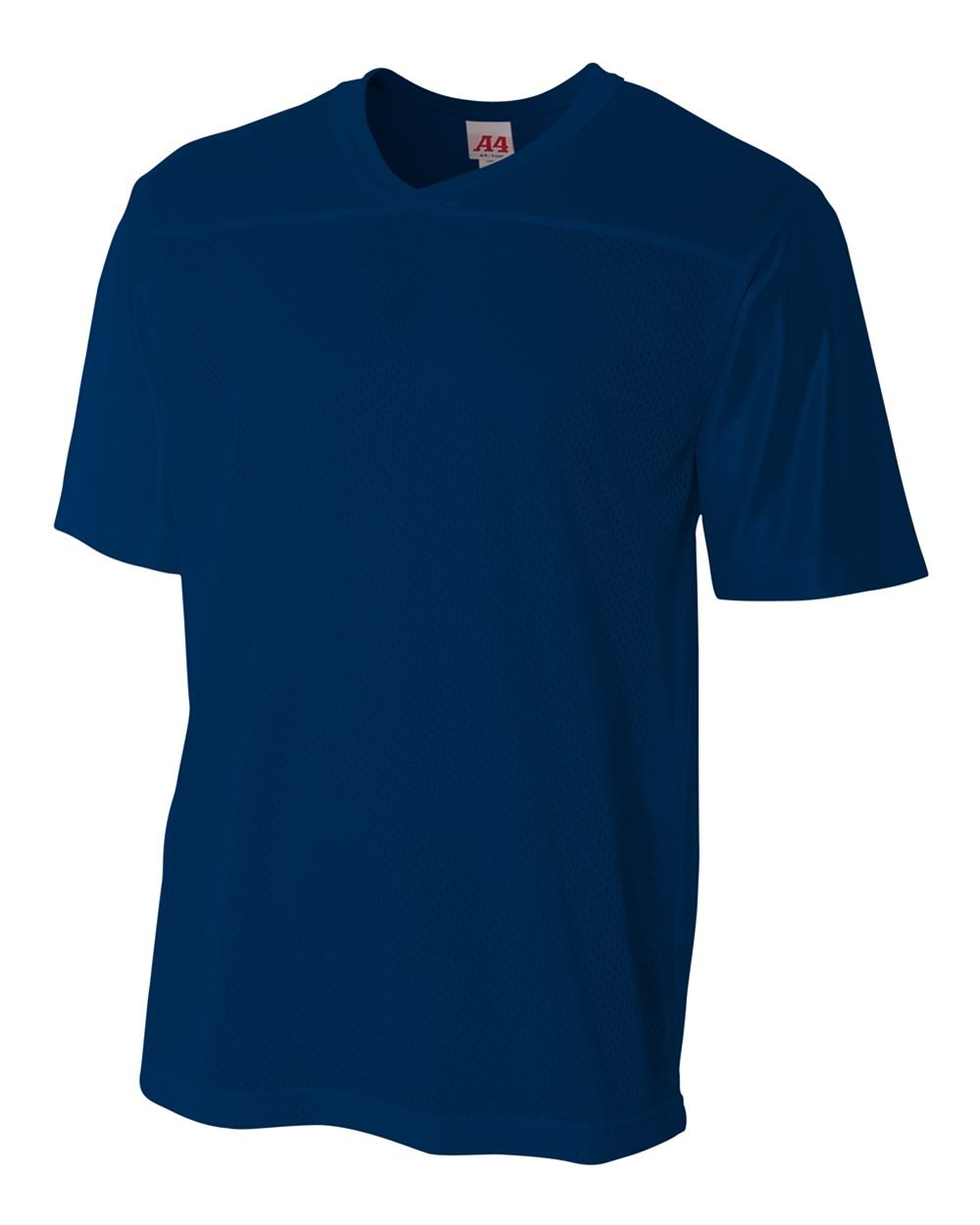 Youth Navy Large (Blank Back) Moisture Wicking V-Neck Football Jersey