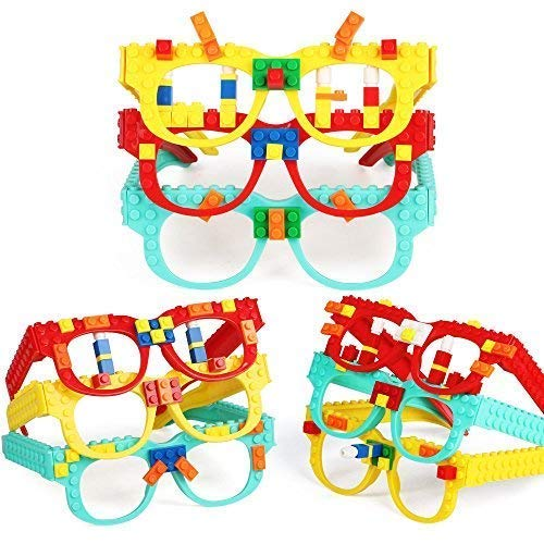 DIY Building Bricks Glasses Baseplate for Creative Building Birthday Party Favors for Kids Girls Boys,9 Pcs ()