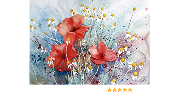 Amazon Com Poppies Of The Field Giclee Print Of Watercolor Flower Picture Showing Red Poppies And Chamomile In A Field In France 10 X 13 Inches Watercolor Paintings Posters Prints