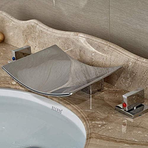Zxyan 蛇口 立体水栓 蛇口キッチンタップ明るいクロム浴室の滝のバスタブ蛇口タップ二つのハンドル広範な流域シンクミキサータップ トイレ/キッチン用